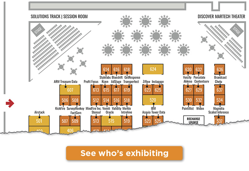 Preview of the MarTech exhibitor floor plan. See who's exhibiting!